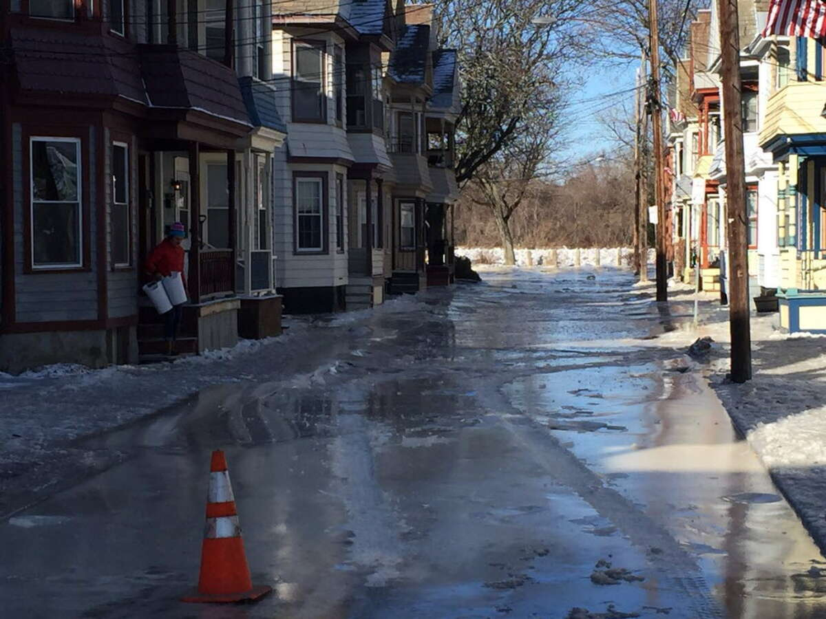 Ingersoll Avenue in Schenectady's Stockade neighborhood covered in ice Jan. 14, 2018. Street is closed. (Steve Hughes/Times Union)