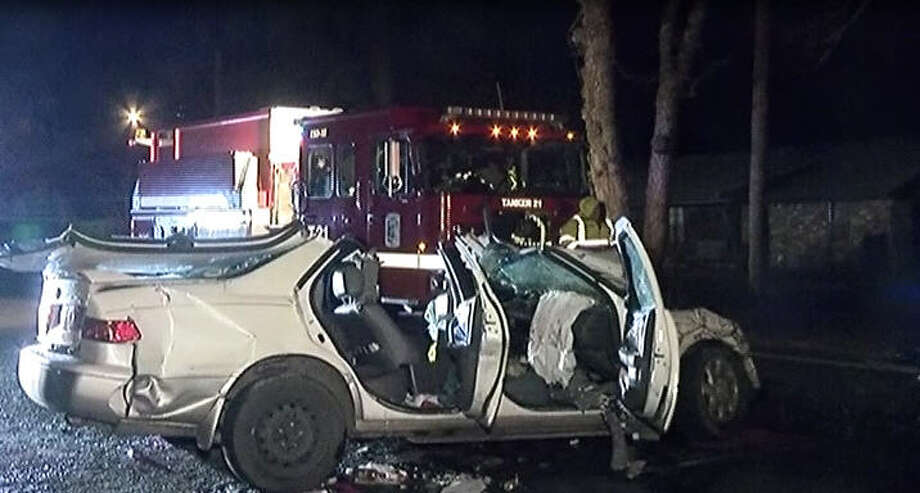A Montgomery County crash Sunday morning left two people in the hospital, according to authorities. Photo: Metro Video