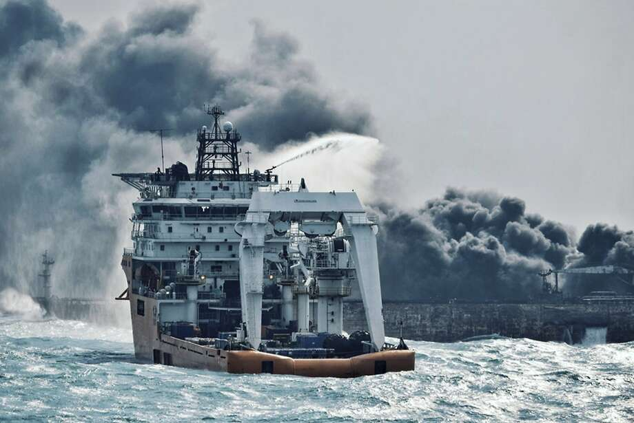 A firefighting boat works to extinguish the blaze last week on the oil tanker Sanchi in the East China Sea. Photo: Associated Press