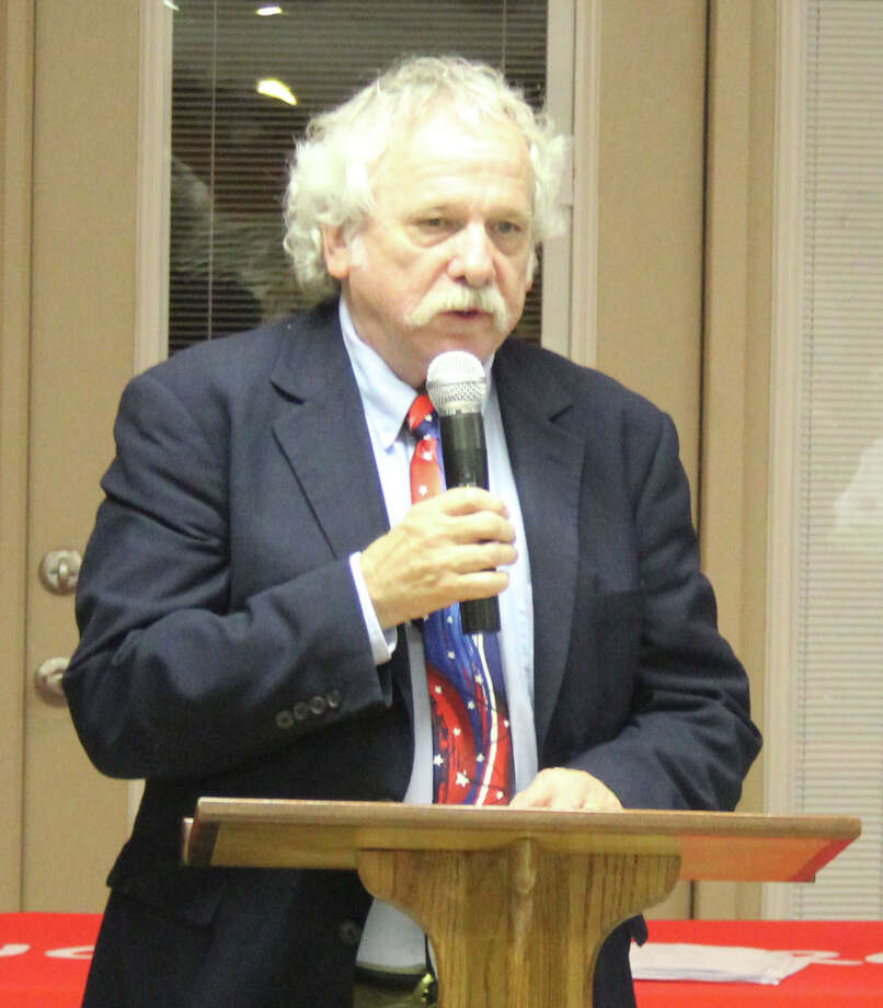 Travis Kitchens discusses his stances during the 258th District Court Judge debate held on Jan. 8 at the Coldspring Community Center. Photo: Jacob McAdams