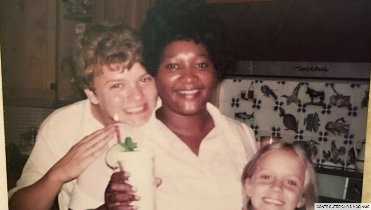 Chris McGinnis at 14, Shirley Walker and sister Katie celebrating Shirley's birthday with a large iced tea with mint in 1975