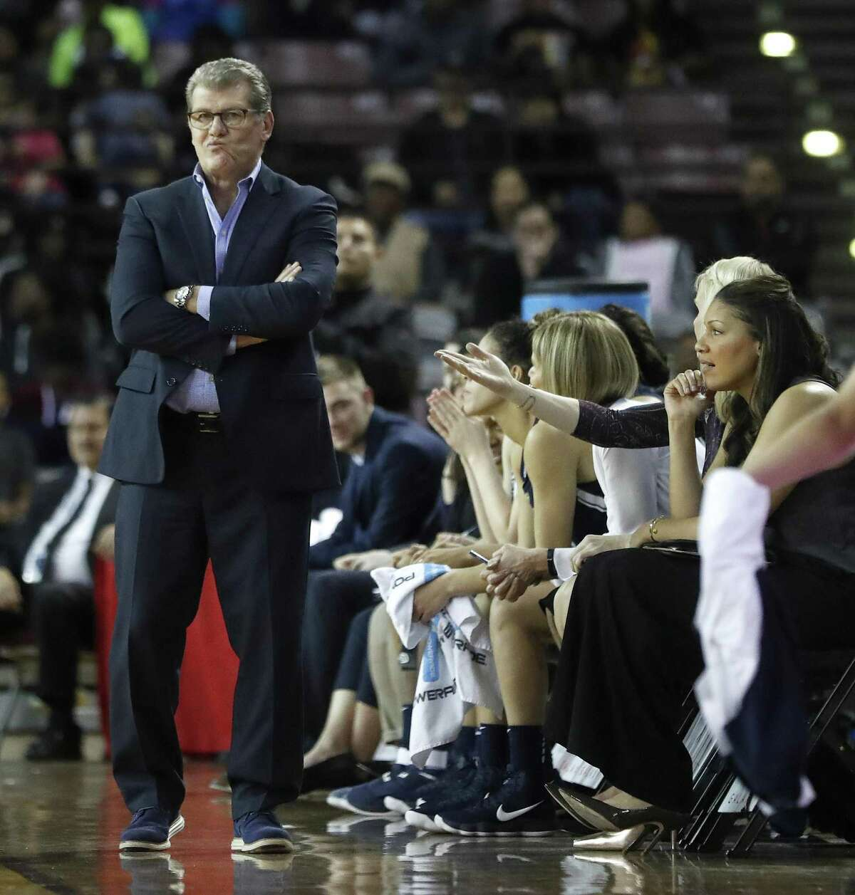 UConn coach Geno Auriemma looks on from the sideline during Saturday's win over Houston.