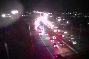 Department of Transportation camera footage near exit 15 on I-95 southbound in Norwalk, not far from where an accident closed a lane of traffic late Sunday afternoon.
