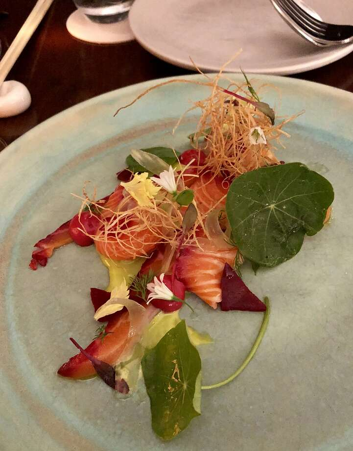 Shotaro Kamio's signature beet-cured ocean trout. Photo: By Michael Bauer, The Chronicle