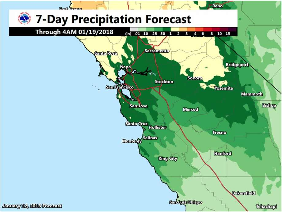 A small storm is expected to bring rain and high surf to the Bay Area and the region starting Monday, Jan. 14, 2018. Photo: National Weather Service