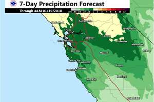 A small storm is expected to bring rain and high surf to the Bay Area and the region starting Monday, Jan. 14, 2018.