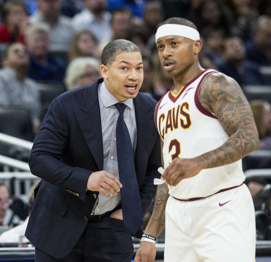 Cleveland Cavaliers head coach Tyronn Lue talks to guard Isaiah Thomas (3) during the second half of an NBA basketball game against the Orlando Magic in Orlando, Fla., Saturday, Jan. 6, 2018. The Cavaliers won 131-127. (AP Photo/Willie J. Allen Jr.) Photo: Willie J. Allen Jr., Associated Press