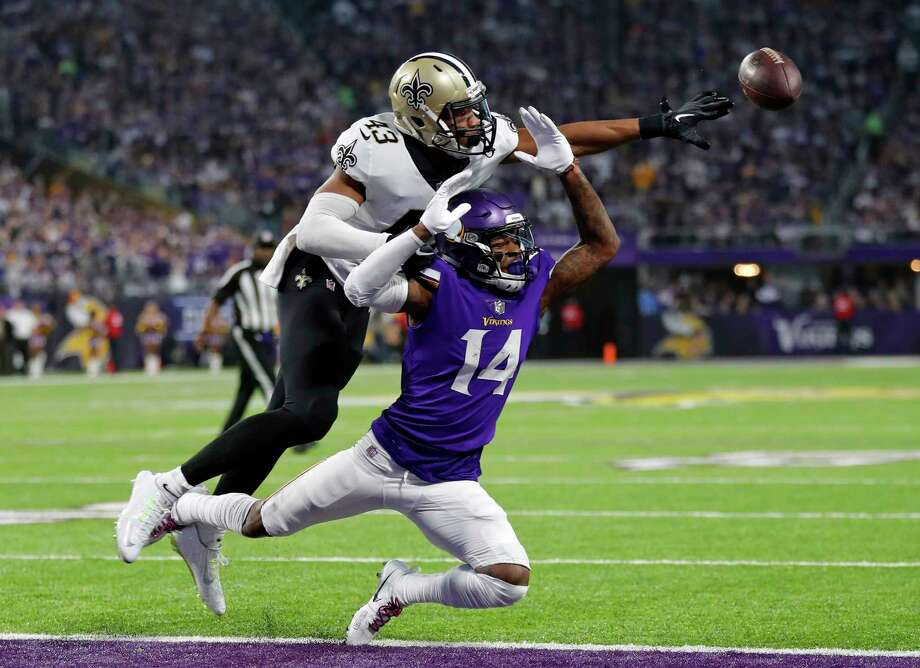 New Orleans Saints free safety Marcus Williams (43) breaks up a pass intended for Minnesota Vikings wide receiver Stefon Riggs (14) during the first half of an NFL divisional football playoff game in Minneapolis, Sunday, Jan. 14, 2018. Photo: Charlie Neibergall, AP / Copyright 2018 The Associated Press. All rights reserved.