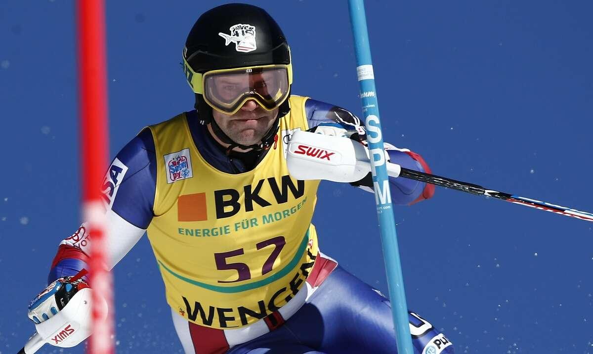 United States' Nolan Kasper speeds down the course during an alpine ski, men's World Cup slalom in Wengen, Switzerland, Sunday, Jan. 14, 2018. (AP Photo/Gabriele Facciotti)