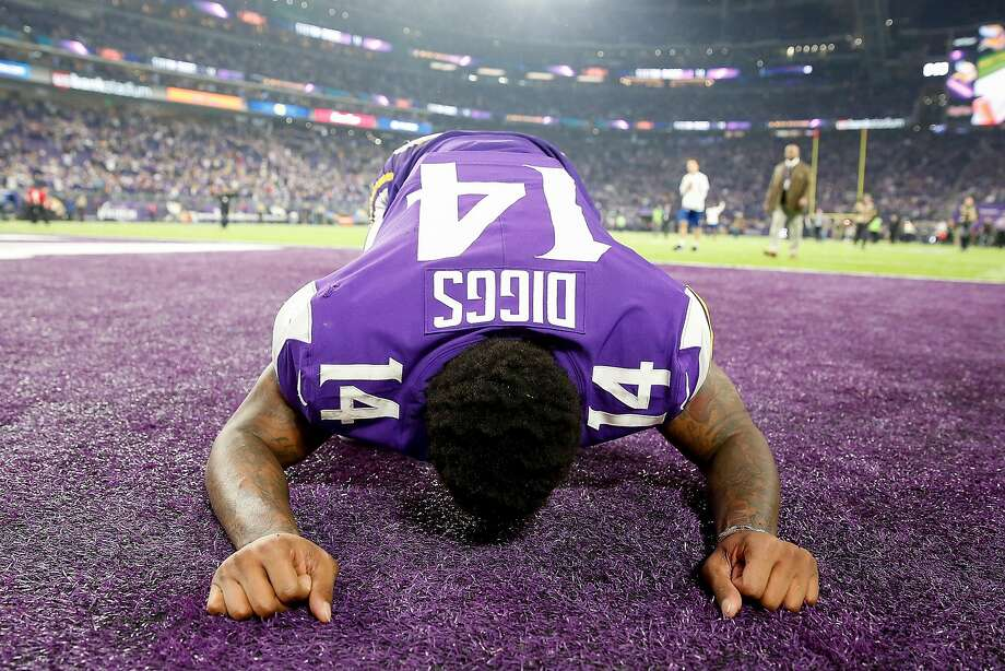 Stefon Diggs #14 of the Minnesota Vikings celebrates after defeating the New Orleans Saints in the NFC Divisional Playoff game at U.S. Bank Stadium on January 14, 2018 in Minneapolis, Minnesota.  (Photo by Jamie Squire/Getty Images) Photo: Jamie Squire, Getty Images