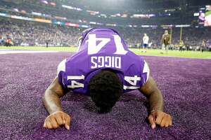 MINNEAPOLIS, MN - JANUARY 14:  Stefon Diggs #14 of the Minnesota Vikings celebrates after defeating the New Orleans Saints in the NFC Divisional Playoff game at U.S. Bank Stadium on January 14, 2018 in Minneapolis, Minnesota.  (Photo by Jamie Squire/Getty Images)