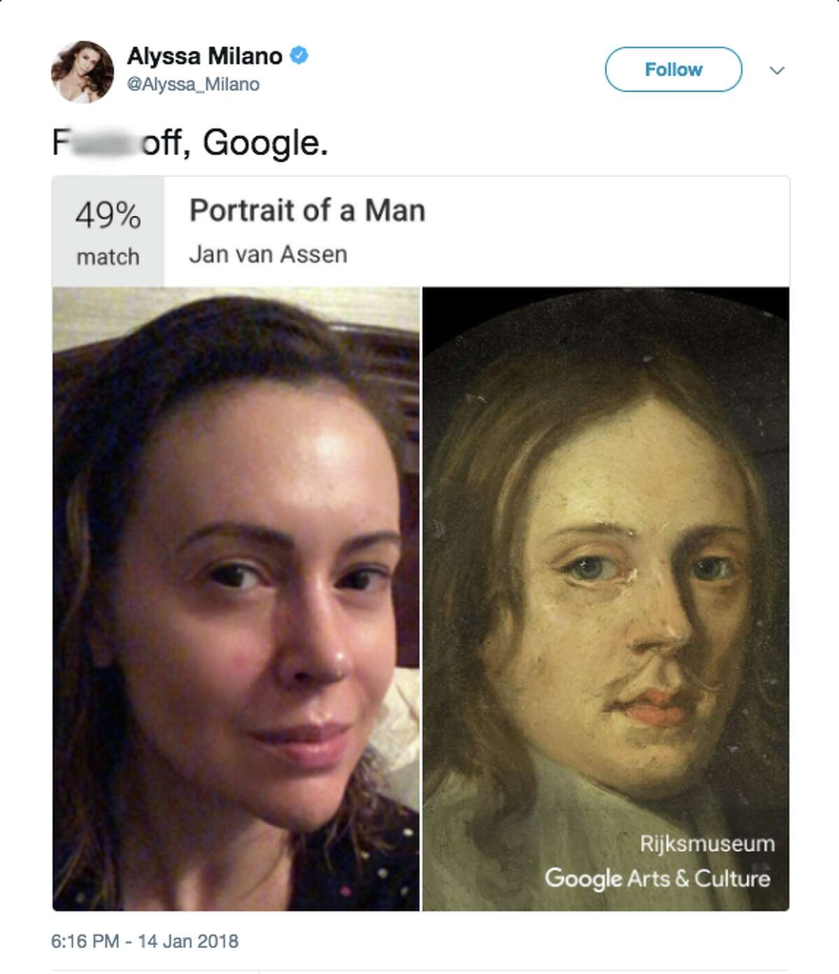 Actress Alyssa Milano did not seem pleased with her art doppelganger, using an expletive when sharing the comparison.