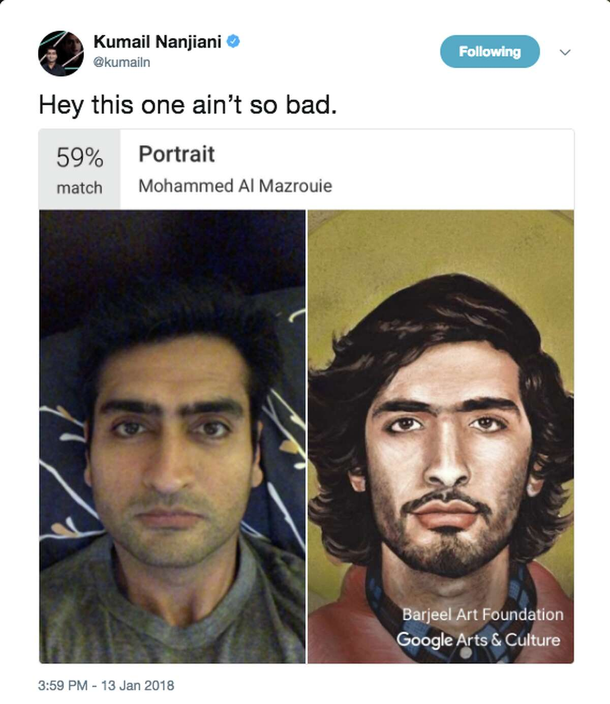 Google Arts and Culture app finds doppelgängers for selfie takers Actor and comedian Kumail Nanjiani deemed his comparison as decent, when he shared his art doppelganger online.