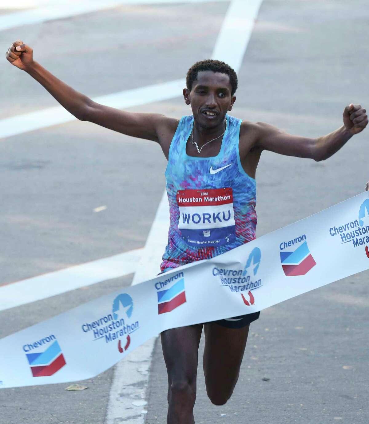 Ethiopia's Bazu Worku added this year's Chevron Houston Marathon men's title to those he won in 2013 and 2014.