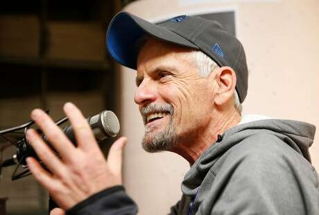 Voice actor Rob Paulsen sits down to record �The Big Event� podcast with Chronicle writers Peter Hartlaub and Mariecar Mendoza in the basement archive studio at the San Francisco Chronicle on Friday, Jan. 12, 2018 in San Francisco, Calif.