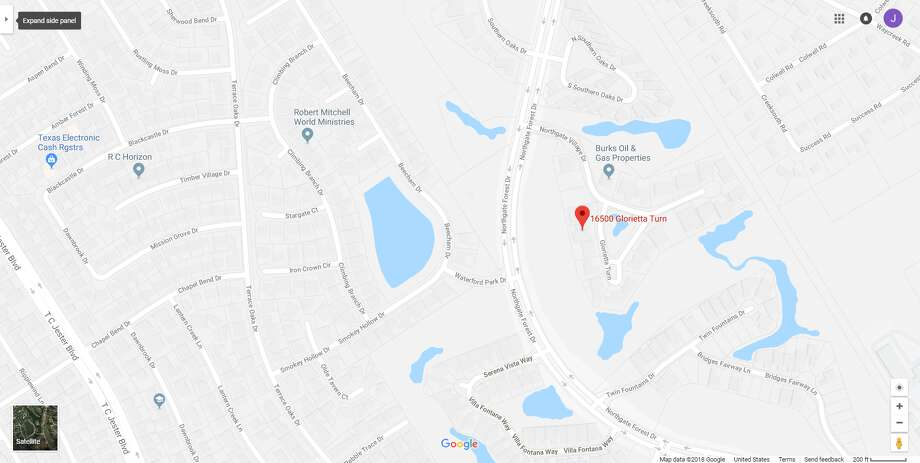 A screenshot of a Google Maps image of the 16500 block of Glorietta Turn in Houston, Texas. Officers discovered the bodies of a couple inside their home on Jan. 13, 2018. Photo: File/Google