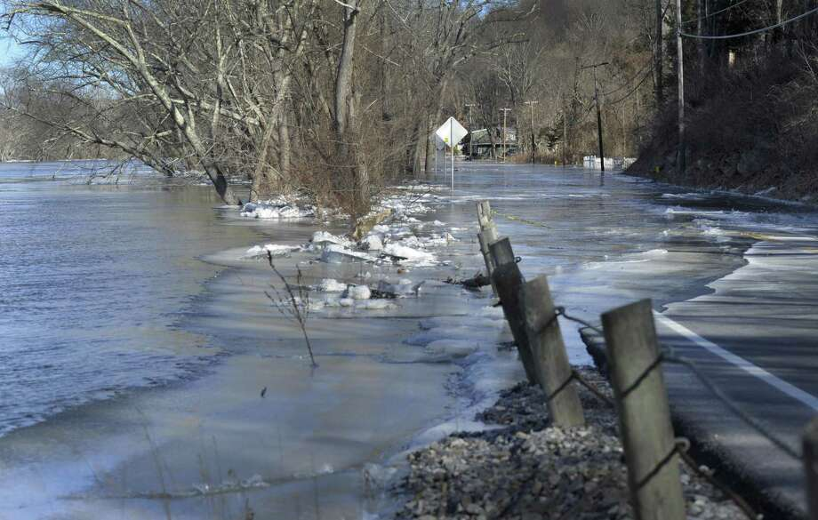 A massive ice jam and flooding has closed Route 7, from Route 341 to Bulls Bridge in Kent Sunday, January 14, 2018. Photo: Carol Kaliff / Hearst Connecticut Media / The News-Times