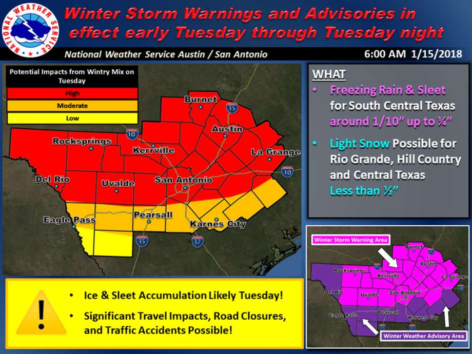The National Weather Service reports freezing rain and sleet in the forecast for the San Antonio area on Tuesday Jan. 16, 2018. Photo: NWS