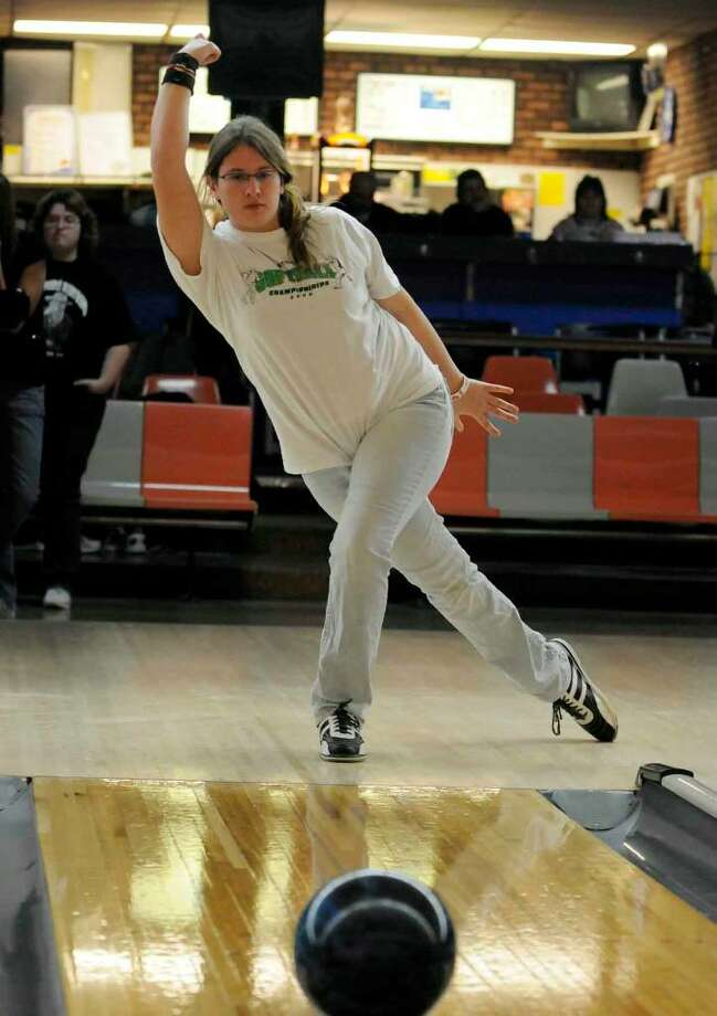 Liz Kuhlkin enjoys putting in practice time for bowling. (Michael P. Farrell/Albany Times Union) Photo: MICHAEL P. FARRELL