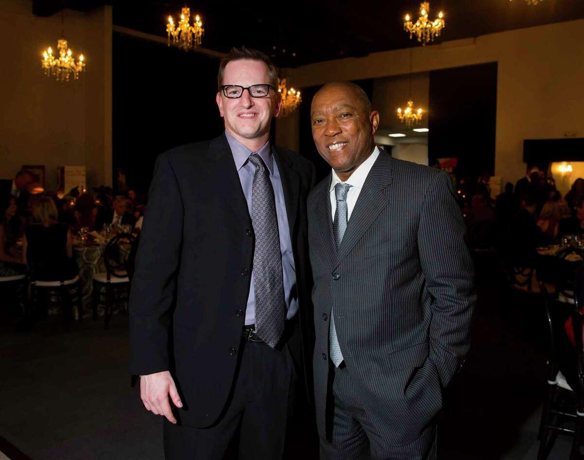 Jonathan Horowitz and Mayor Sylvester Turner at the Greater Houston Restaurant Association's Golden Fork Awards Gala downtown on Saturday, Jan. 13, 2018.