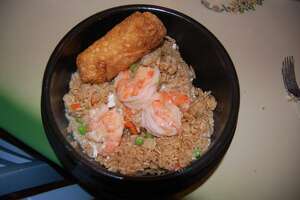 Shrimp fried rice and egg roll at Yantze Riverside.