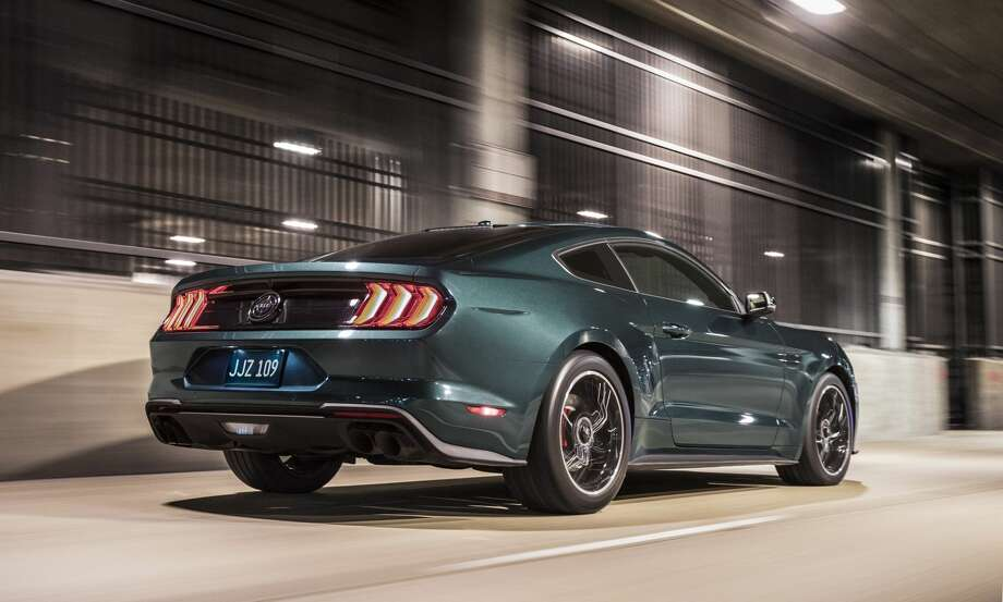 "The 2019 Mustang Bullitt features an upgraded 5.0-liter V8 engine that puts out 475 horsepower. It has a top speed of 163 miles per hour (262 kilometers per hour) and a manual transmission with a white cue-ball shift knob. It's available in dark highland green, the color ""Bullitt"" made famous, as well as black. Photo: Ford Motor Co."