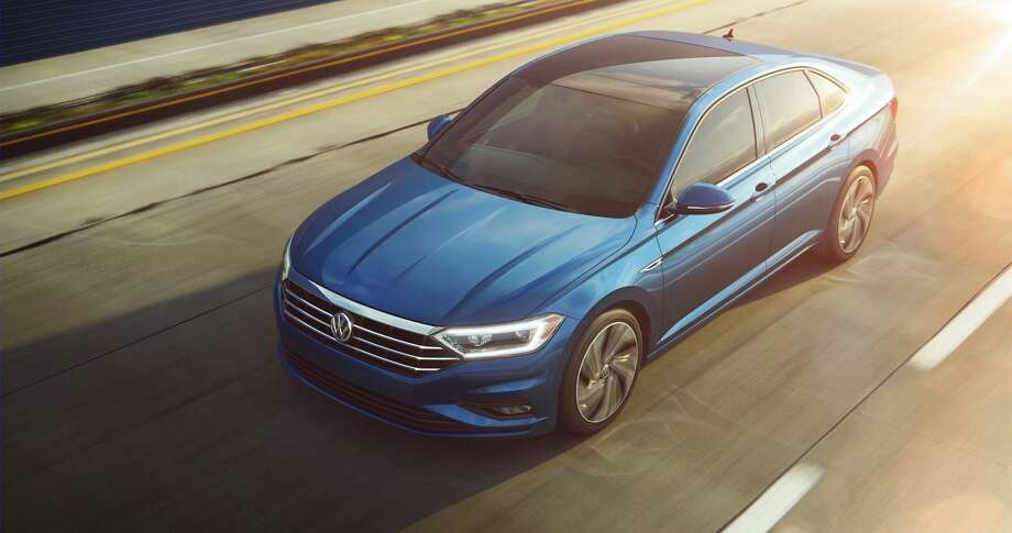 The 2019 Volkswagen Jetta aimrs for a sportier look, with a large front grille, higher chrome quotient and LED lighting. Photo: Volkswagen