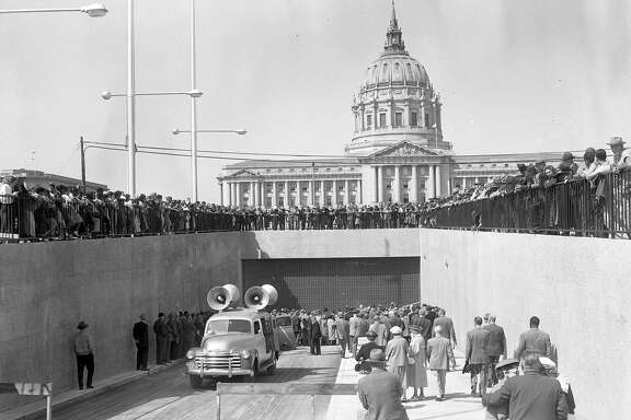 The opening of Brooks Hall .. known during construction as Mole Hall, below the Civic Center Plaza, April 11, 1958