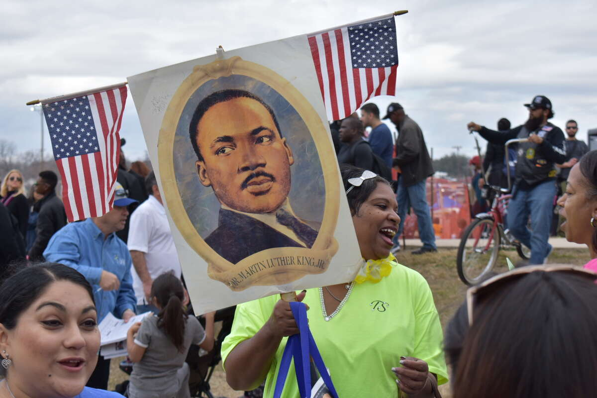 Marchers gather Monday, Jan. 15, 2018, for the 50th annual Martin Luther King Day march in San Antonio.