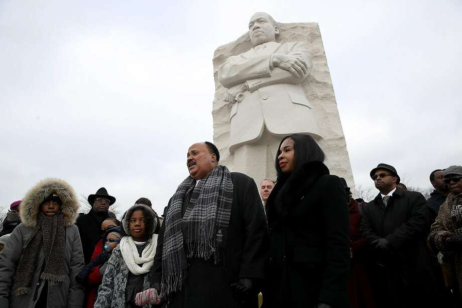 "Martin Luther King III, standing in front of the memorial to his father in Washington, criticized President Trump. ""We got to find a way to work on this man's heart,"" he said. Photo: Win McNamee, Getty Images"