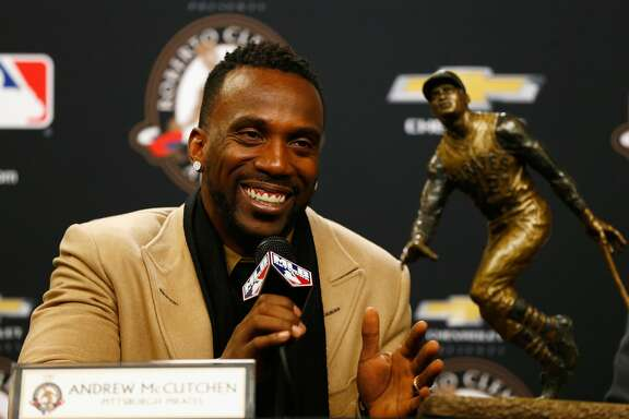 NEW YORK, NY - OCTOBER 30:  Andrew McCutchen of the Pittsburgh Pirates speaks to the media after being presented with the 2015 Roberto Clemente Award prior to Game Three of the 2015 World Series between the New York Mets and the Kansas City Royals at Citi Field on October 30, 2015 in New York City.  (Photo by Mike Stobe/Getty Images)