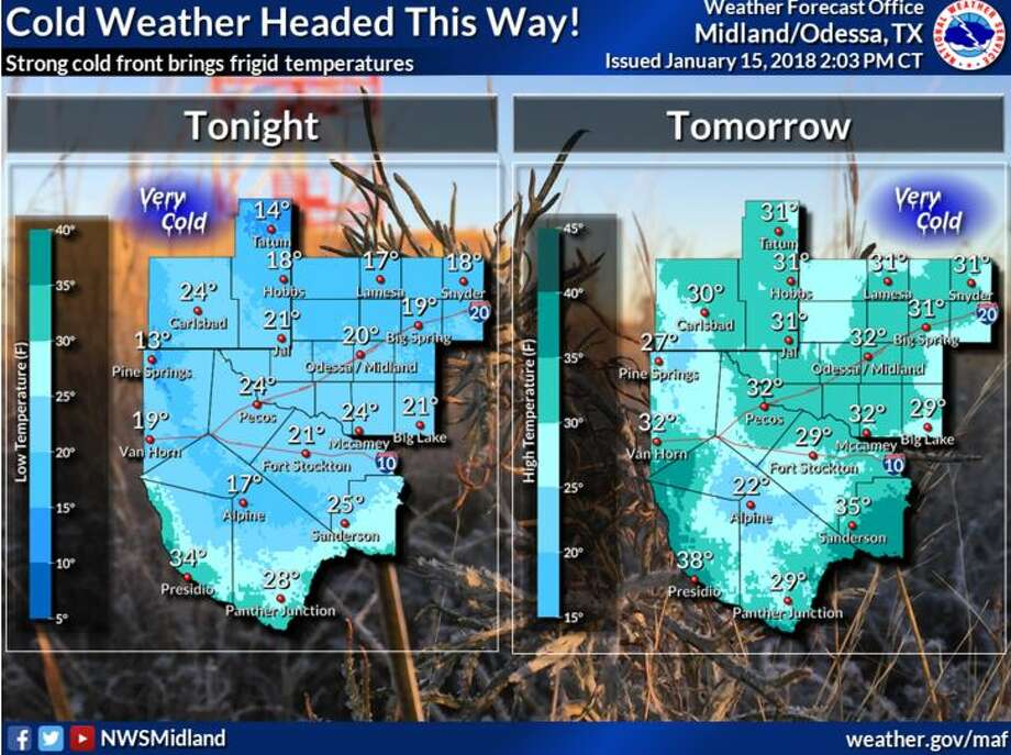 Winter is returning as an Arctic cold front plows through West Texas and southeast New Mexico Monday afternoon and tonight. Lows will be in the teens and 20s for Monday tonight, and highs will barely make it above freezing Tuesday. Bring in pets as wind chills will be harmful to them. Photo: NWS Midland/Odessa