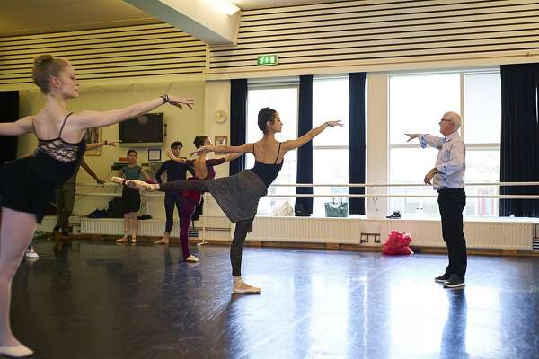 Helgi Tomasson leads company class while on tour in Iceland.