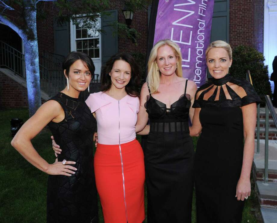 Actress Kristin Davis from Sex and the City, second from left, with Greenwich International Film Festival executives from left, Wendy Stapleton Reyes, Colleen deVeer and Ginger Stickel during the opening night party at the Boys & Girls Club of Greenwich, Conn., Thursday, June 9, 2016. Photo: Bob Luckey Jr. / Hearst Connecticut Media / Greenwich Time