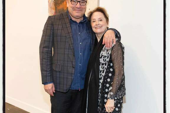 FOG mastermind Stanlee Gatti and Innovator honoree Alice Waters at the art-design fair. Jan. 11, 2018.