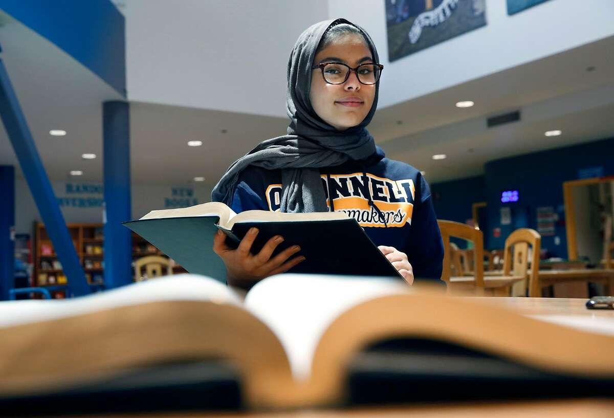 Nour Aissaoui at John O'Connell High school in San Francisco, Ca., on Tuesday December 19, 2017. Aissaoui has earned a full scholarship to Princeton.