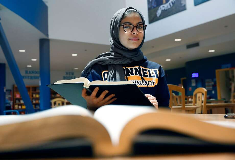 Nour Aissaoui at John O'Connell High school in San Francisco, Ca.,  on Tuesday December 19, 2017. Aissaoui has earned a full scholarship to Princeton. Photo: Michael Macor, The Chronicle