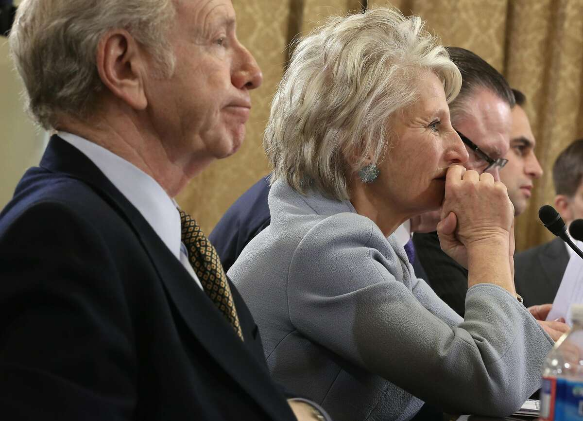 """Former U.S. Sen. Joseph Lieberman (I-CT) (L); and former U.S. Rep. Jane Harman (D-CA) (2nd L), director of the Woodrow Wilson Center, testify during a hearing before the House Homeland Security Committee January 15, 2014 on Capitol Hill in Washington, DC. The committee held a hearing on """"A False Narrative Endangers the Homeland,"""" focusing on the administration's narrative on the threat from al Qaeda."""