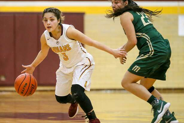 Harlandale's Nisa Delgado (left) brings the ball upcourt against McCollum's Dominique Villarreal during the second half of their District 29-5A showdown at Harlandale on Jan. 9. Delgado led the Lady Indians with 11 points.