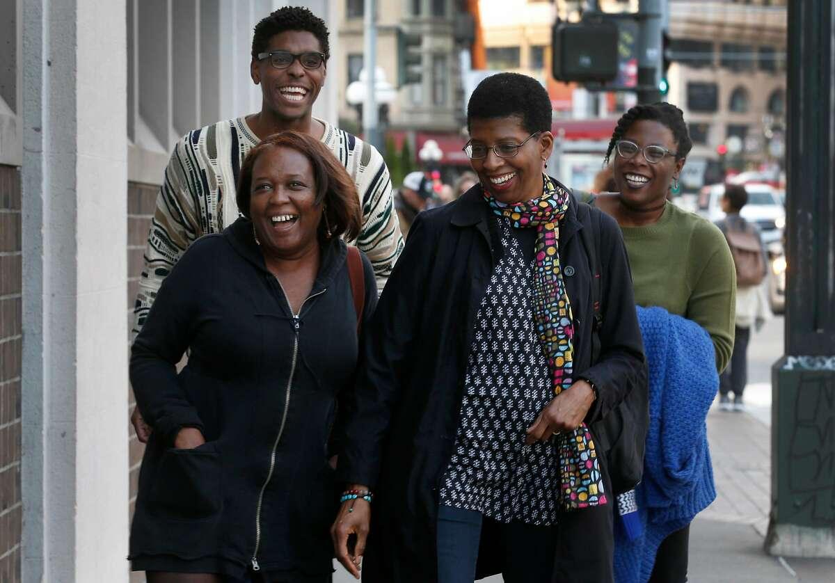From left, actors Edris Cooper-Anifowoshe, Rodney Earl Jackson, Jr., Velina Brown and Jeun�e Simon take a walk in San Francisco, Calif. on Thursday, Jan. 11, 2018.