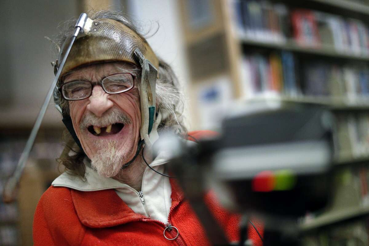 """Hale Zukas breaks out in laughter at the Berkeley Library in Berkeley, Calif., on Thursday, December 21, 2017. """"Hale"""" is a short documentary that follows Zukas, a Berkeley-based disability rights pioneer. The film recently took home a Student Academy Award, which makes it eligible for the actual Oscars."""