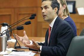 Land Commissioner George P. Bush answers questions as the Senate Finance Committee takes up state expenditures by the General Land Office for the Alamo on Dec. 5, 2017.