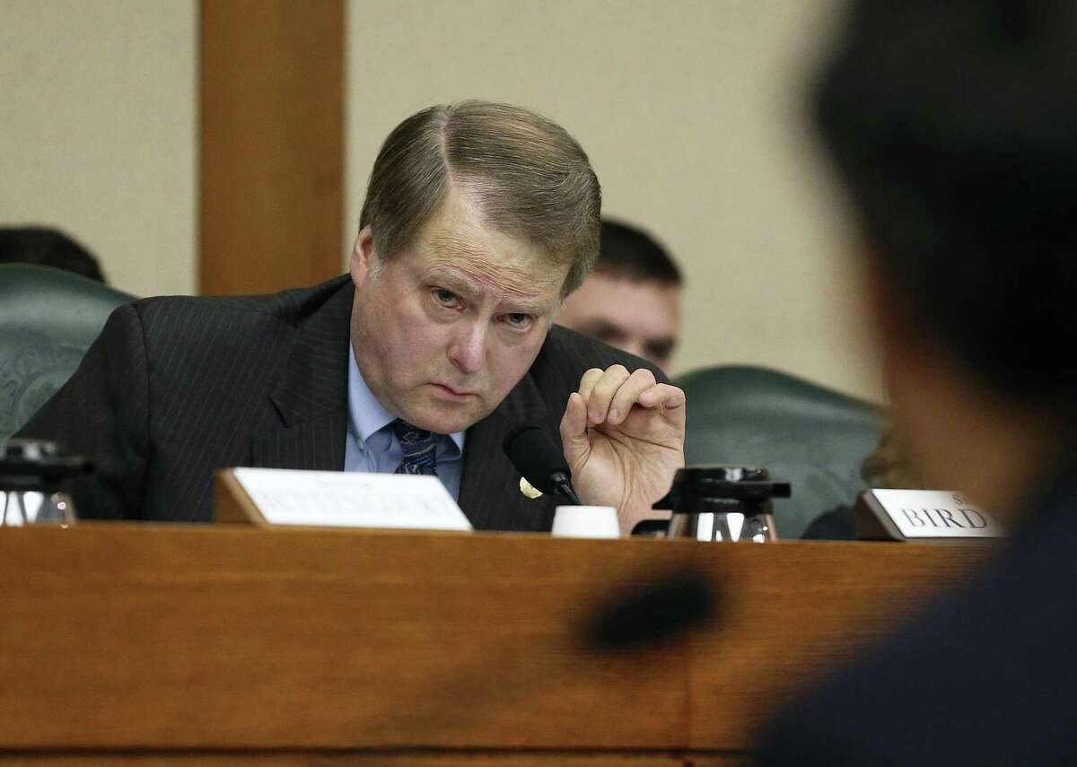 State Sen. Brian Birdwell, R-Granbury, questions Land Commissioner George P. Bush as the Senate Finance Committee takes up state expenditures by the General Land Office for the Alamo on Dec. 5, 2017