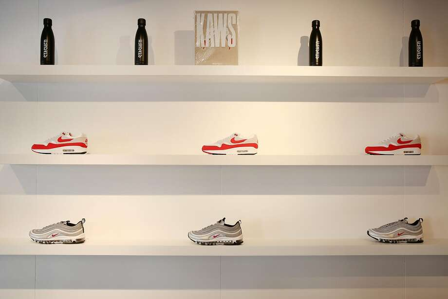 The Nike Air Max 1 (center) and the Air Max 97s are seen at Stashed, a new Dogpatch boutique by Steve Stoute. Photo: Santiago Mejia, The Chronicle