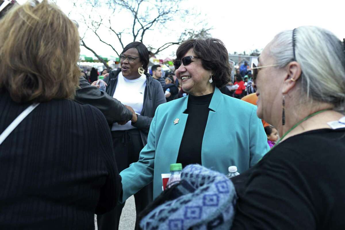 Former Dallas County sheriff and Democratic candidate for Texas governor Lupe Valdez greets the crowd during the 50th Martin Luther King March, Monday, Jan. 15, 2018.