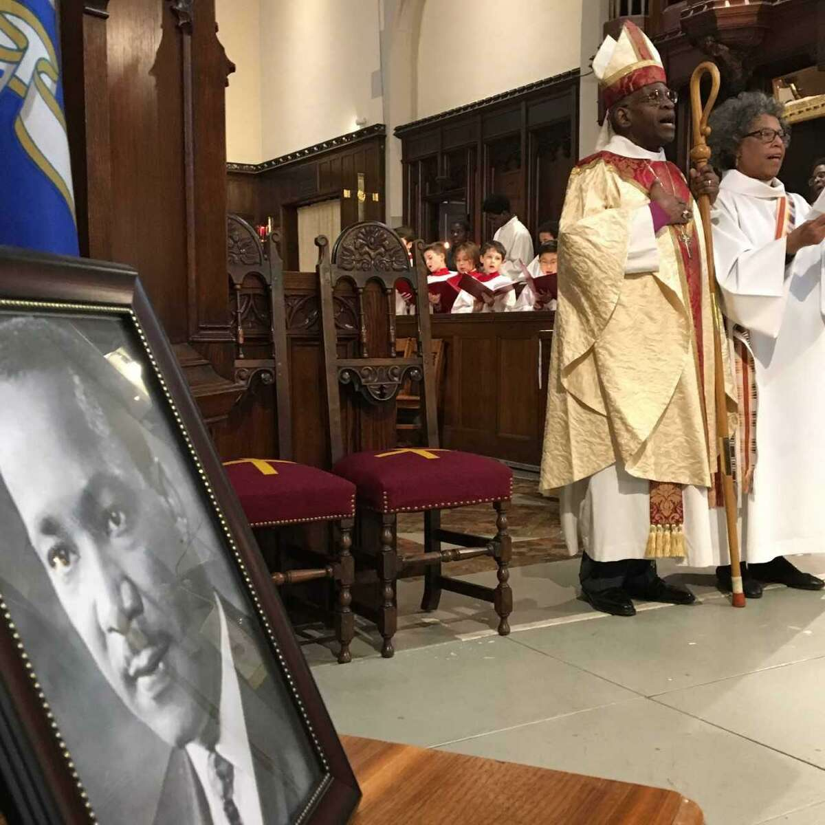 The Right Rev. Nathan D. Baxter, retired bishop of Central Pennsylvania, and the Rev. Canon Diane Peterson of Trinity Church of Southport lead MLK service Monday in West Haven. The Union of Black Episcopalians' Southern Connecticut Chapter organized a eucharistic celebration of the life of the late Rev. Dr. Martin Luther King Jr. on Monday, Jan. 15, 2018 in the Church of the Holy Spirit on Church Street in West Haven.