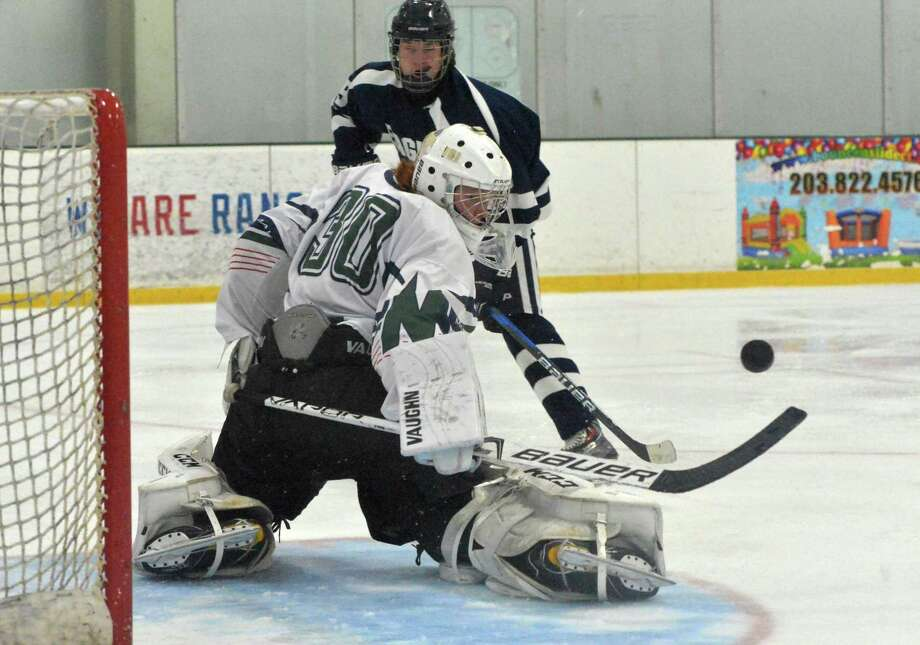 Norwalk McMahon's #30 Max Vitucci makes a save vs Wethersfield Co-Op during boys hockey match up at the Sono Ice House on Monday January 15, 2018 in Norwalk Conn. Photo: Alex Von Kleydorff / Hearst Connecticut Media / Norwalk Hour