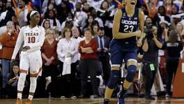 Connecticut forward Azura Stevens (23) celebrates the team's win over Texas in an NCAA college basketball game, Monday, Jan. 15, 2018, in Austin, Texas. Connecticut won 75-71. (AP Photo/Eric Gay)