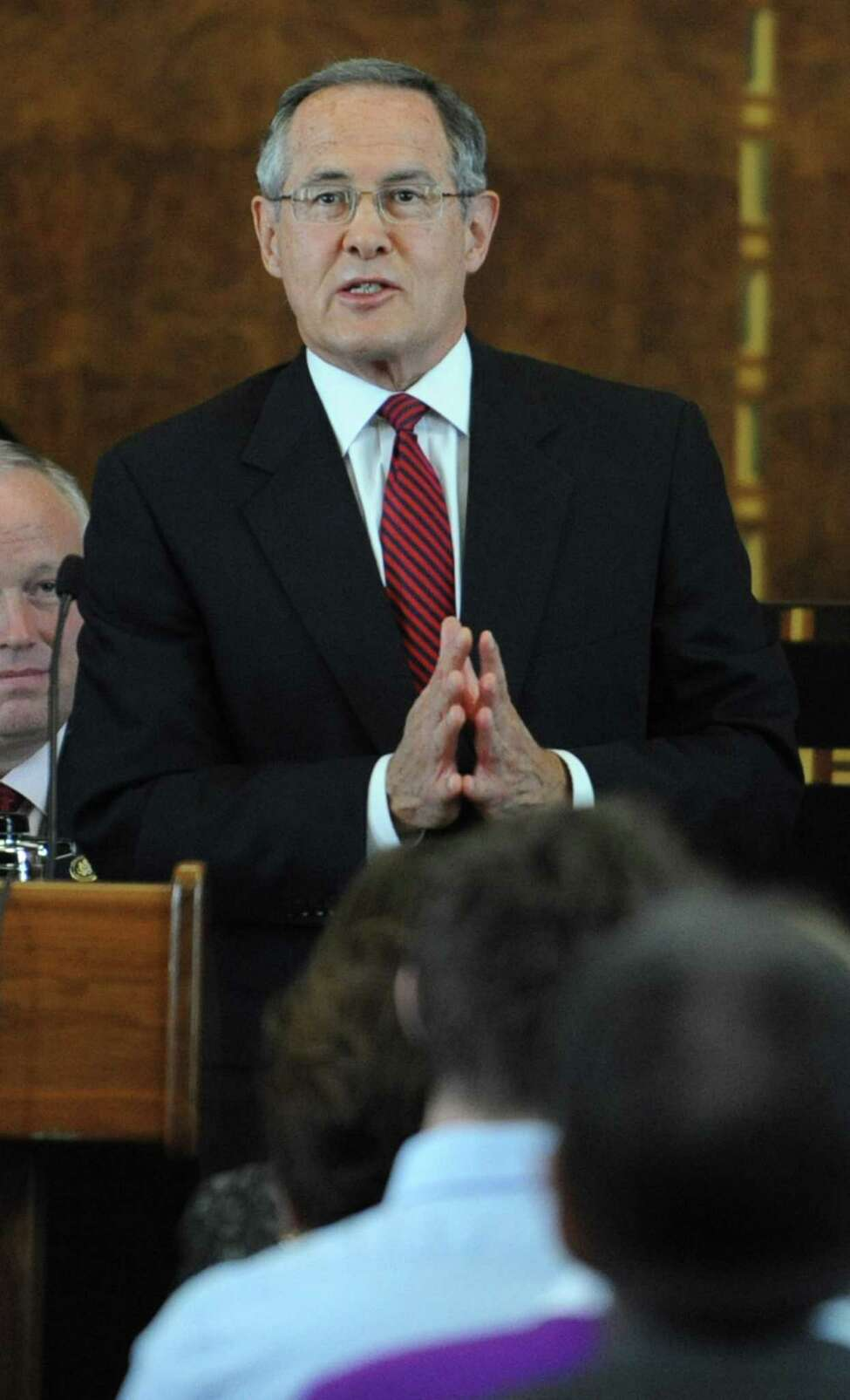 Attorney E. Stewart Jones speaks before U.S. District Judge Mae D'Agostino gets sworn in by Chief Judge Norman A. Mordue at the Federal Courthouse in Albany, N.Y. on Monday, Sept. 19, 2011. (Lori Van Buren / Times Union)