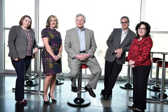 J. Clifford Hudson, center, CEO of Sonic Drive-In, with his leadership team at corporate headquarters in Oklahoma City. From left, Lori Abou Habib, chief marketing officer; Christina Vaughan, president of Sonic restaurants; Jose Dueñas, chief brand officer; and Anita Vanderveer, senior vice president of people.